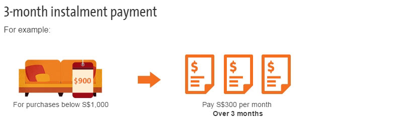 Pay S$300 per month Over 3 months